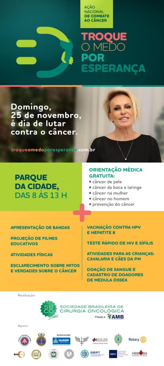 Domingo tem Ação Nacional de Combate ao Câncer