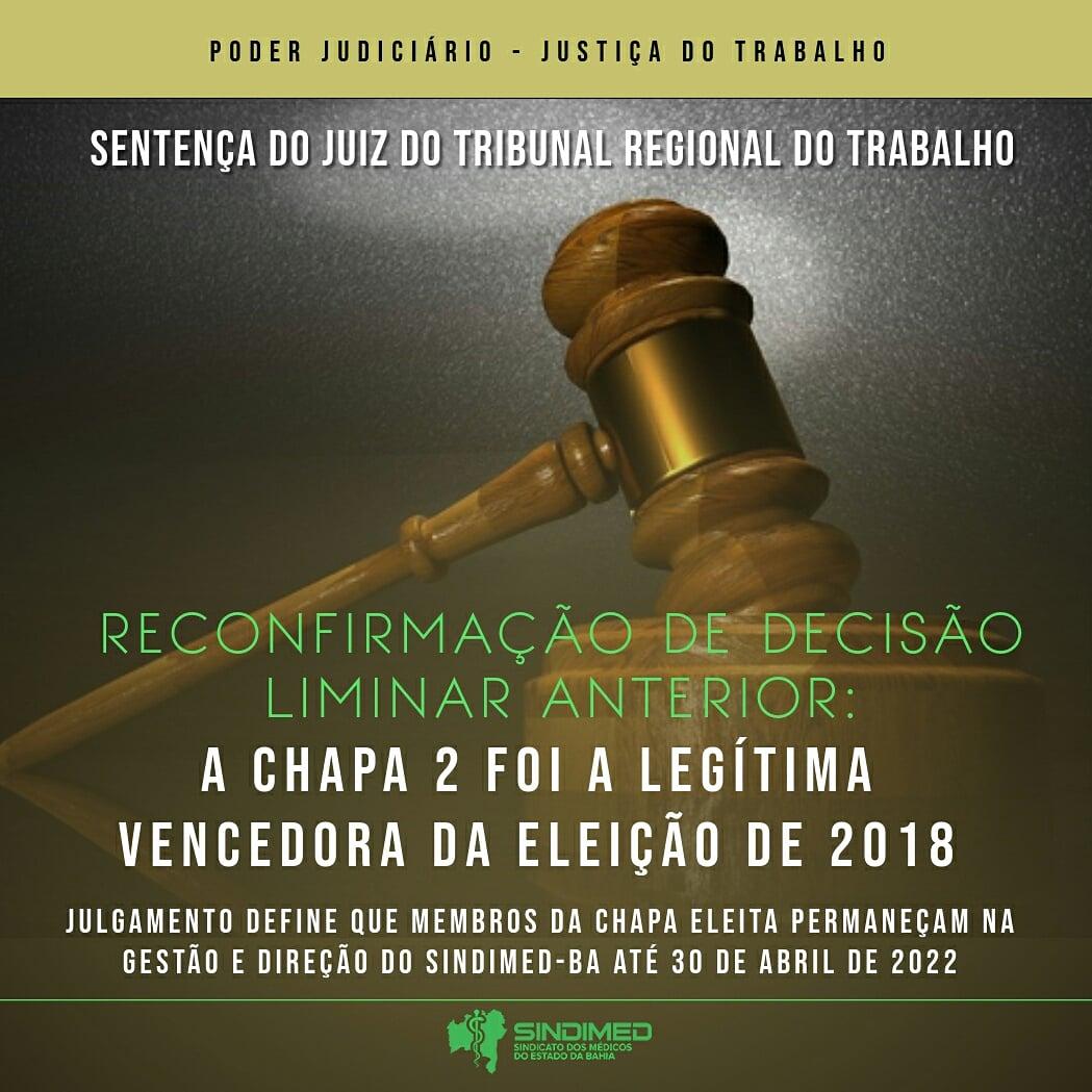Justiça reconhece a Chapa 2 como a legítima vencedora das eleições 2018