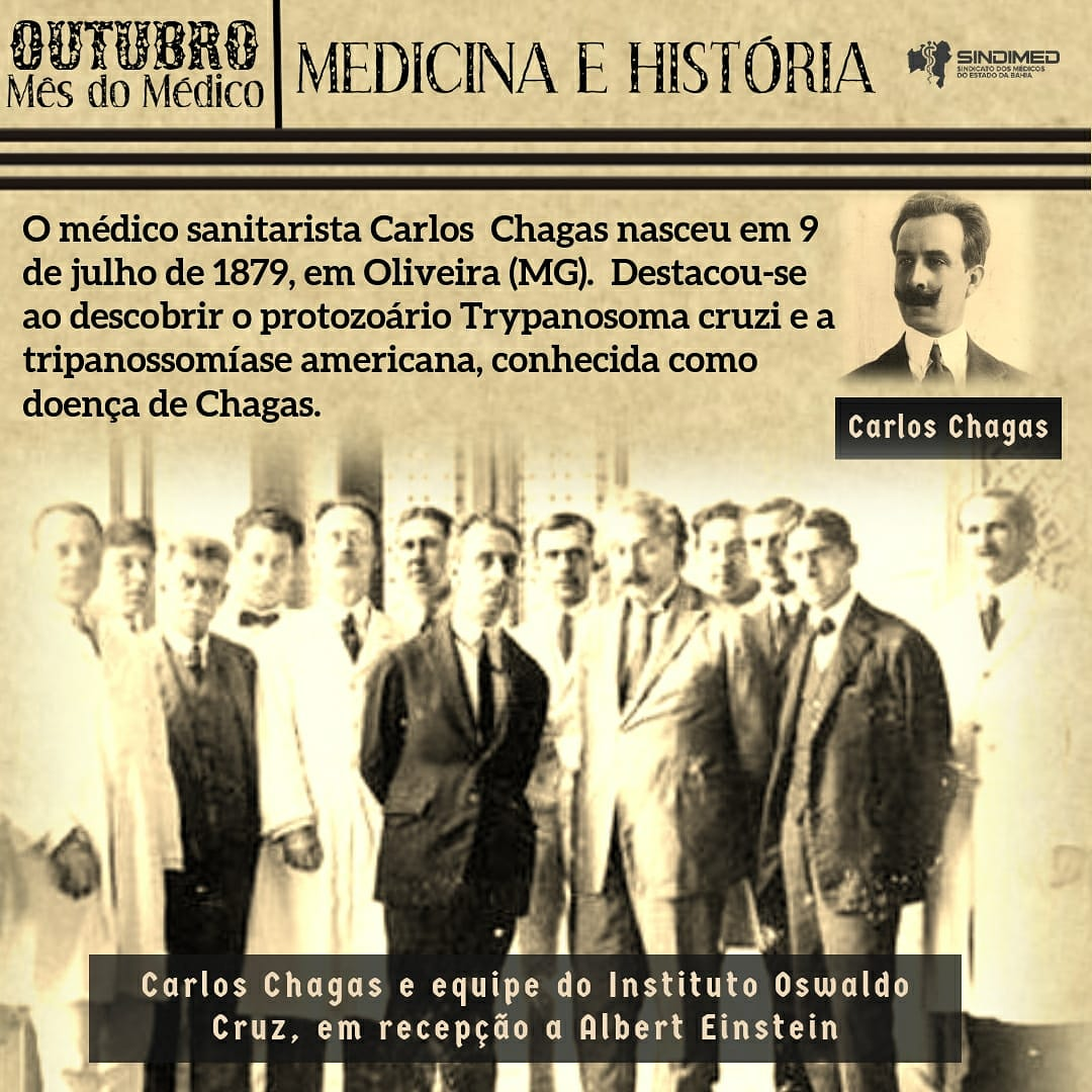 Carlos Justiniano Ribeiro Chagas foi o único cientista na história da medicina a descrever completamente uma doença infecciosa: o patógeno, o vetor (Triatominae), os hospedeiros, as manifestações clínicas e a epidemiologia. #medicina #saude #vida #historiadamedicina #históriadamedicina #medicinaehistoria #medicosporamor #medicosdabahia #medico #medicina #médicosdabahia #sindimedba #sindimedbahia #sindimed #saude #medicine #medicos #saudenabahia #saudeemprimeirolugar #prevenção #artedecurar #artedeprevenir #saúdenabahia #doctor #medical #diadomedico #diadomédico #diadomedico2020 #mesdomedico #mêsdomédico #carloschagas #oswaldocruz #fundacaooswaldocruz #alberteinstein #einstein #cientistas #ciência #ciencia