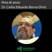 O Sindimed-BA informa com pesar o falecimento do médico Carlos Eduardo Barros Diniz. O Sindicato se solidariza com a família e os amigos do Dr. Carlos.